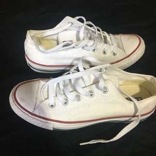 White Converse Low Tops Size Men's 4 Womens 6