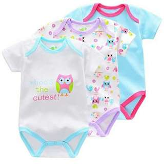 WHOO'S THE CUTEST OWL PRINTED ROMPER (3PCS/SET) - AS SHOWN