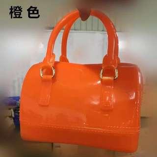 全新限時清貨特賣橘色糖果色果凍包迷你枕頭包單肩手提女包