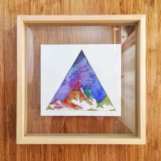 Original Watercolour Painting with Timber Floating Frame