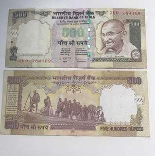 Indian rupees (500 denomination)
