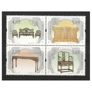 MACAU CHINA 2017 CHINESE FURNITURE BLOCK COMP. SET OF 4 STAMPS IN MINT MNH UNUSED CONDITION