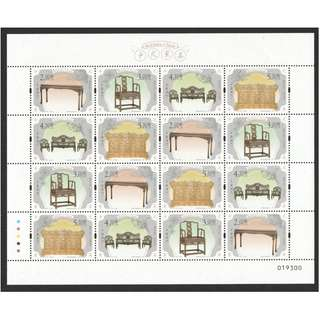 MACAU CHINA 2017 CHINESE FURNITURE FULL SHEET OF 16 STAMPS IN MINT MNH UNUSED CONDITION