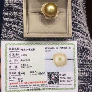 18K Y Gold 14-15mm 濃金正圓南洋金珍珠 介指 有證書,可訂size