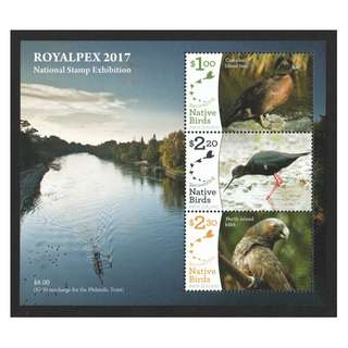 NEW ZEALAND 2017 ROYALPEX (NATIVE BIRDS) STAMP EXHIBITION SOUVENIR SHEET OF 3 STAMPS IN MINT MNH UNUSED CONDITION