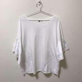 🚚 二手出清↘️白色荷葉袖短袖上衣