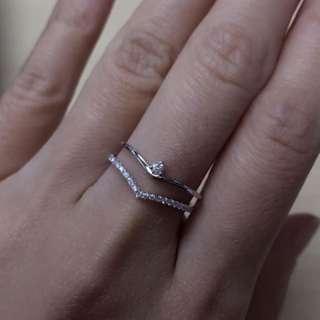 18K白金鑽石戒指💍14份