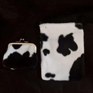 CUTE Black & White Cow Print Mini Bag & Purse Set
