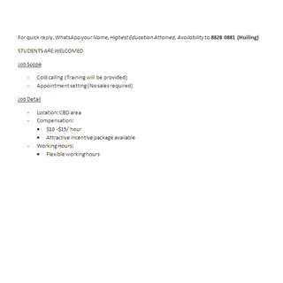 [Urgent] Telemarketer / Flexible Hours / Students welcomed