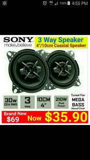 "4"" Car Speaker - SONY 3 Way 190Watts Coaxial Speaker (Integrated tweeter + Mid range + woofer) Model number XS-FB103. Usual Price: $ 69.90. Special Price: $35.90 ( Brand New In Box &  Sealed)"