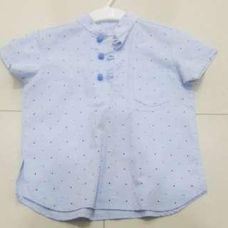 Chubby Chubby CNY Blue Polka Shirt