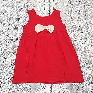🚚 蝴蝶結紅色無袖背心花苞裙洋裝 #一百元好物