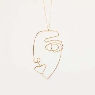 [全新] COS gold human face geometric necklace金色幾何人臉眼睛表情頸鏈