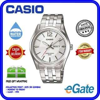 Casio MTP-1335D-7AV Men's Analog Calender Silver Dial Quartz Original Watch