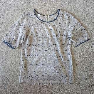 PROMOD white Lace w/ blue details blouse