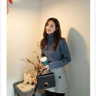 80%羊毛,韓國 Cherrykoko 正品小立領保暖毛衣(灰)