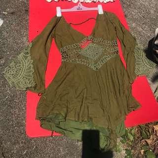 Little green hippy romper/one piece/dress size 6