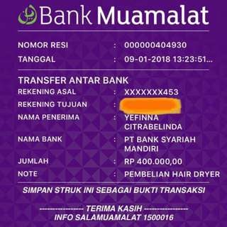 BUKTI TRANSFER CUSTOMER ❤️❤️❤️