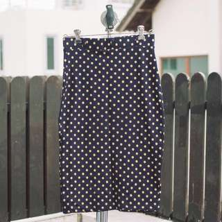 Polka dot midi pencil skirt