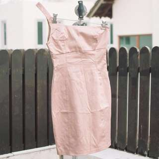 Zara satin pink dress