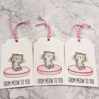 Handmade customised Valentine's Day tags - from me to you - cute kitten