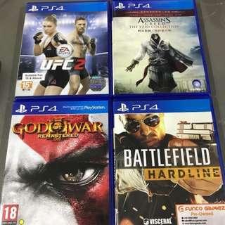 Selling Ps4 games. Ufc 2, God of war and battlefield hardline
