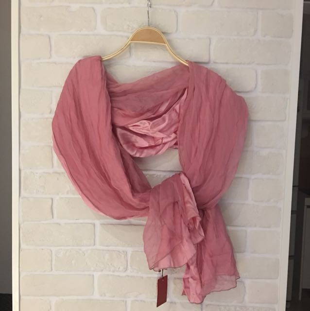 粉色浪漫雙面蠶絲大披肩,超優質感展示品出清,184*88cm