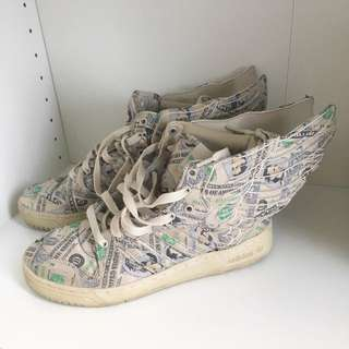 JEREMY SCOTT ADIDAS US DOLLAR WING SNEAKERS LIMITED EDITION