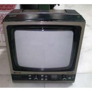 古董 Philips AM FM接收 彩色電視 內置收音機功能