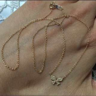 日本製 玫瑰K金鑽石項鍊 真鑽石10份 鍊長16吋   Made In Japan 100% New & Real Pink K Gold Necklace With real Diamond(0.10cart)