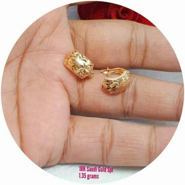 18k saudi gold clip earring