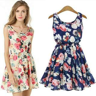 Dress Tanpa Lengan Motif Thin Floral