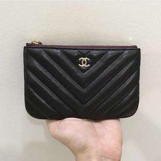 Chanel classic chevron small purse o case  Lambskin leather  Black GHW