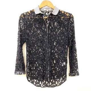 Carven navy dark blue see through shirt size 36