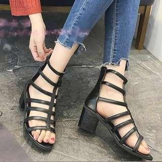 🚚 歐美粗跟羅馬鞋