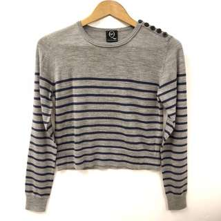 Alexander Mcqueen gray with navy stripes sweater size IT 40