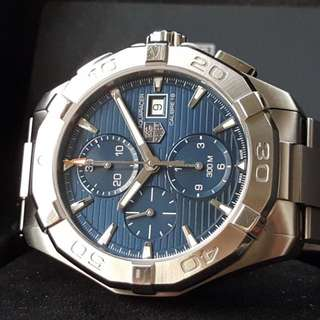 ORIGINAL TAG HEUER AQUARACER CAL 16 CHRONOGRAPH DATE AUTOMATIC BLUE SUNBURST 44MM