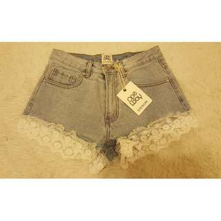 One Way Lace Denim Shorts - size 6 brand NEW
