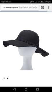 Black Woolen Wide Brim Hat RRP $59