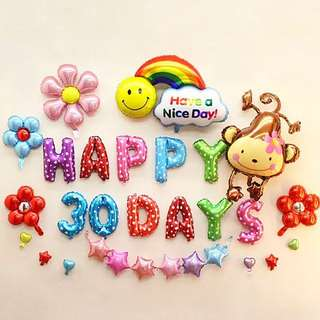 HAPPY 30 DAYS FOIL LETTERS BALLOONS