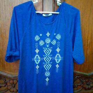 Blue 3/4 Shirt with Aztec-ish markings