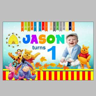 Customized Winnie the Pooh Birthday Banner, Bunting, Backdrop