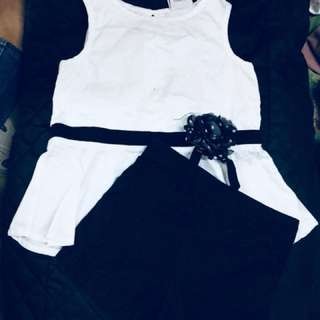 Lilly wicket white blouse and black short terno