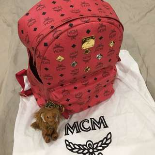 Authentic MCM backpack with keyring