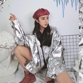 【黑店】歐美時尚 ins爆款 太空金屬感寬鬆織帶飛行外套 情侶外套