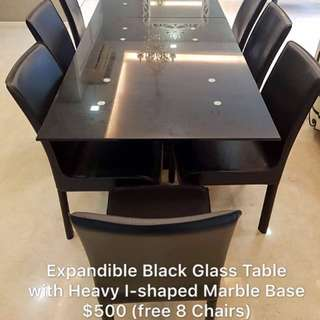 8 Seater Black Glass Top Dining Set