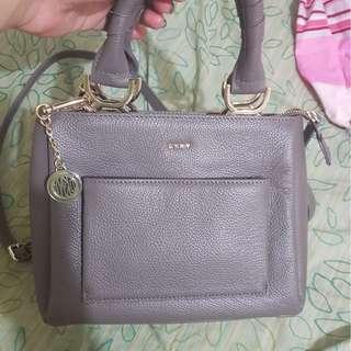 Dkny grey leather bag