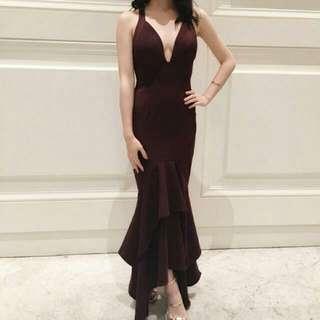 Sheike Burgundy Formal Dress