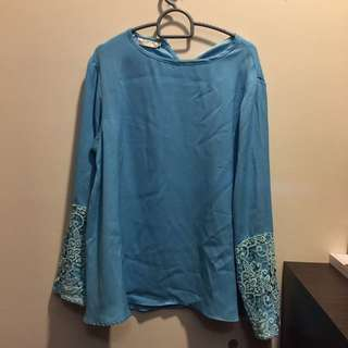 Juwita Couture Blue Lace Blouse Top