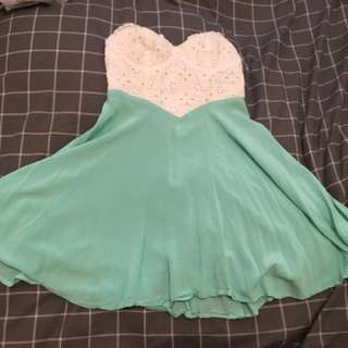 White and Mint green strapless dress - worn once